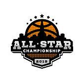 All star basketball, sports logo emblem