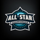 All star sports, template symbol design on a dark background.