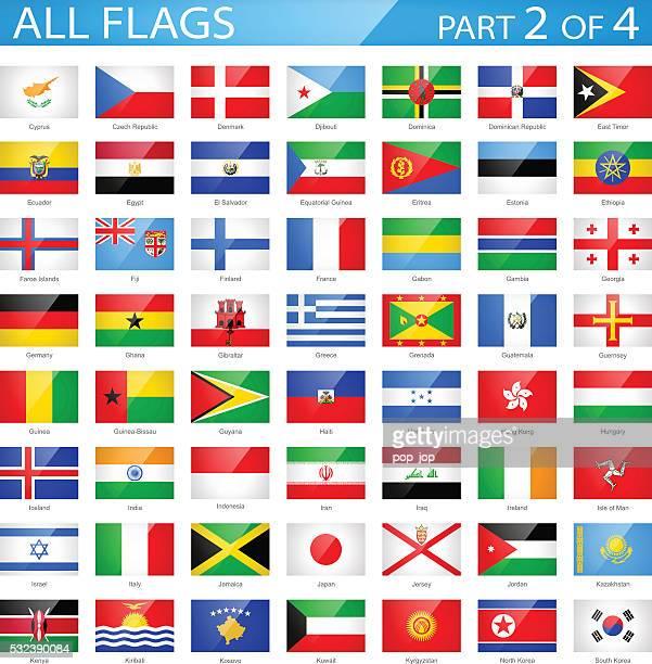Tous les drapeaux du monde-rectangulaire brillant icônes-Illustration