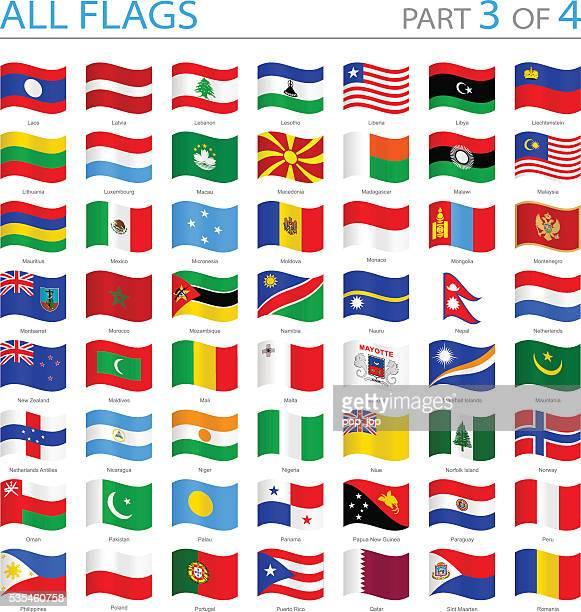 Tous les drapeaux du monde-Swung icônes-Illustration