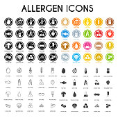 Allergen icons. Vector illustration