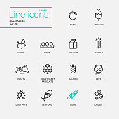 Set of modern vector Allergens plain simple thin line design icons and pictograms. Nuts, pollen, seafood, mold, lactose, eggs, celery, fruits, honeycraft products, pets, gluten, dust mite soya drugs