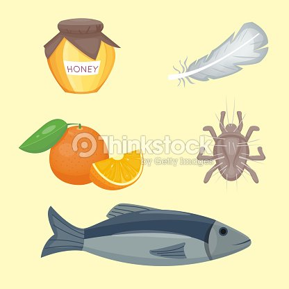 Allergy symbols disease healthcare food viruses health flat illness allergen symptoms disease information vector illustration