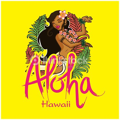 Aloha Hawaii Girl Dancing Hula Background Vector Image Art