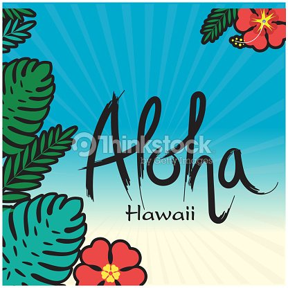 Aloha Hawaii Leaves Flower Blue Background Vector Image Art
