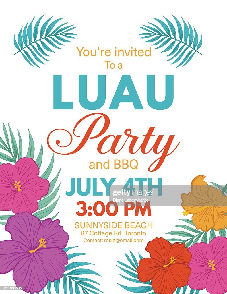 Aloha Hawaiian Party Invitation With Hibiscus Flowers And Leaves