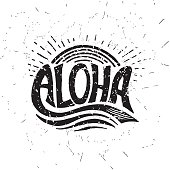 Aloha surfing lettering. Vector calligraphy illustration. Hawaiian handmade tropical exotic t-shirt graphics. Summer apparel print design. Retro drawn sea wave, sun, spray, vintage texture