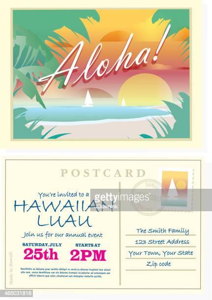 Aloha vintage-Postkarte Hawaiian Luau Einladung design-Vorlage