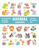 Alligator, Bear, Cat, Dog, Elephant, Fox, Giraffe, Hippopotamus, Iguana, Jellyfish, Kangaroo, Lion, Monkey, Nutria, Owl, Panda, Quail, Raccoon, Skunk, Turtle, Unicorn, Viper, Whale, X-ray fish, Yak, Z