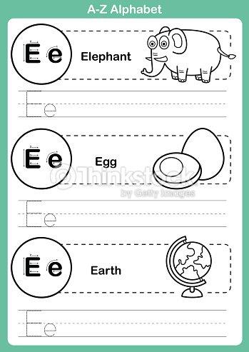 Alphabet A Z Exercise With Cartoon Vocabulary For Coloring Book Vector Art