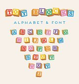 3D alphabet blocks, toy baby blocks with letters in bright colors can be used as font.