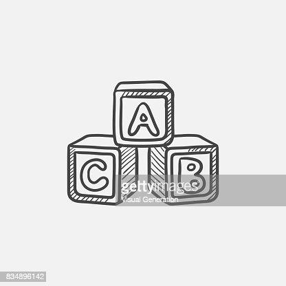 Alphabet cubes sketch icon : stock vector