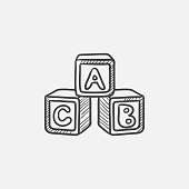 Alphabet cubes sketch icon for web, mobile and infographics. Hand drawn vector isolated icon.