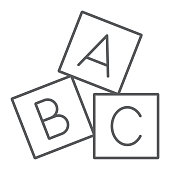 Alphabet cubes thin line icon, abc and toy, block sign, vector graphics, a linear pattern on a white background, eps 10.