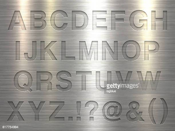 Alphabet Design - Letters on Metal Texture Background