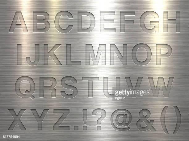 Alphabet Design - Letters on Metal Texture Background