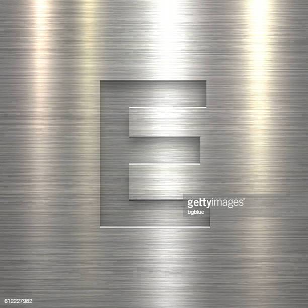 Alphabet E Design - Letter on Metal Texture Background