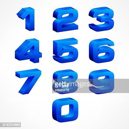 Alphabet isometric numbers in blue : Arte vectorial