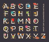 Alphabet letters in a form of illuminated drop cap initials ornamented with floral designs in Art Nouveau style