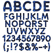 Alphabet, letters, numbers and signs from blue cloth tartan. Isolated vector objects on white background.