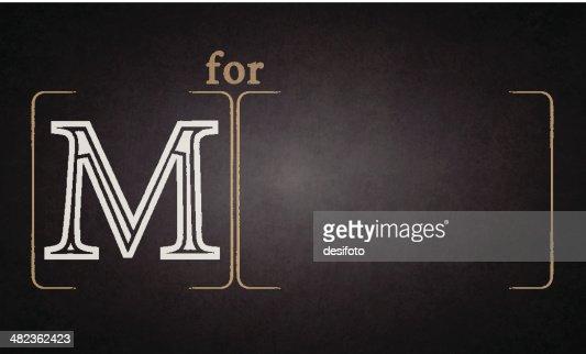Alphabet - M on blackboard : Vector Art