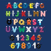 Funny Alphabet (Upper) & Numbers Characters  in Flat Cartoon Style
