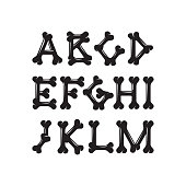 Alphabet of bones set 1, the constructor for T-shirt prints
