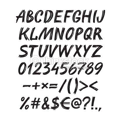 Police de croquis manuscrit alphabet jeu de lillustration vectorielle marqueur de calligraphie - Dessiner l alphabet ...