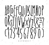 Alphabet set straight lines font in vintage style drawing with black lines on white background