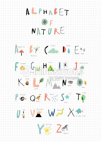 Alphabet With Cute Font And Nature Icons Next To Each Letter Vector Art