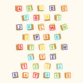 Alphabet with numbers, childish font. Colorful toy blocks for children education. Vector