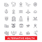 Alternative health, healing, medicine, acupuncture, therapy, herbal homeopathy line icons. Editable strokes. Flat design vector illustration symbol concept. Linear signs isolated on white background