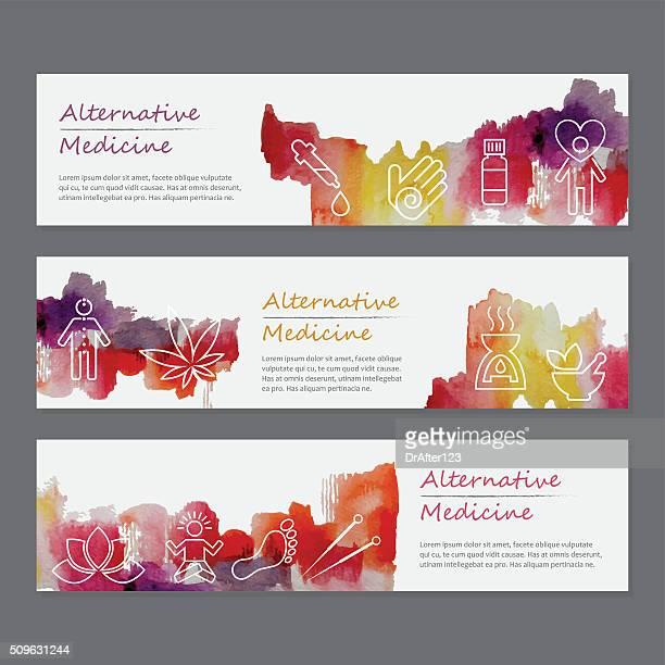 Alternative Medicine Watercolor Banners Set
