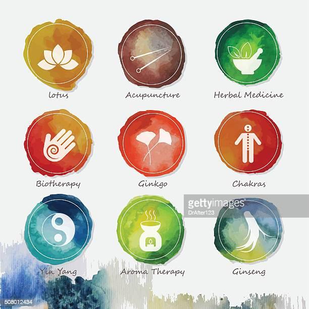 Alternative Medizin Aquarell Symbole Satz