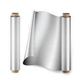 Aluminium Foil Roll Vector. Close Up Top View. Opened And Closed. Realistic Illustration Isolated