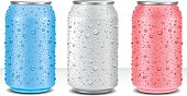 Aluminum Tin Cans in different color with fresh water drops