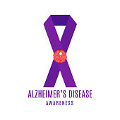 Alzheimer's disease awareness ribbon postern with purple bow and pinned brain symbol on white background. Chronic neurodegenerative disorder symbol. Minimalistic medical concept. Vector illustration.