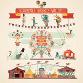design elements of circus show vector illustrations