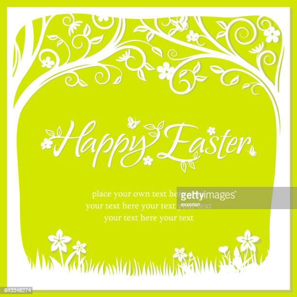 Increible Pascua huevos planta papel corte arte