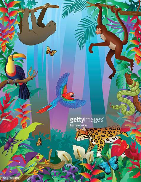 Amazon rainforest animals vertical jungle scene with many creatures