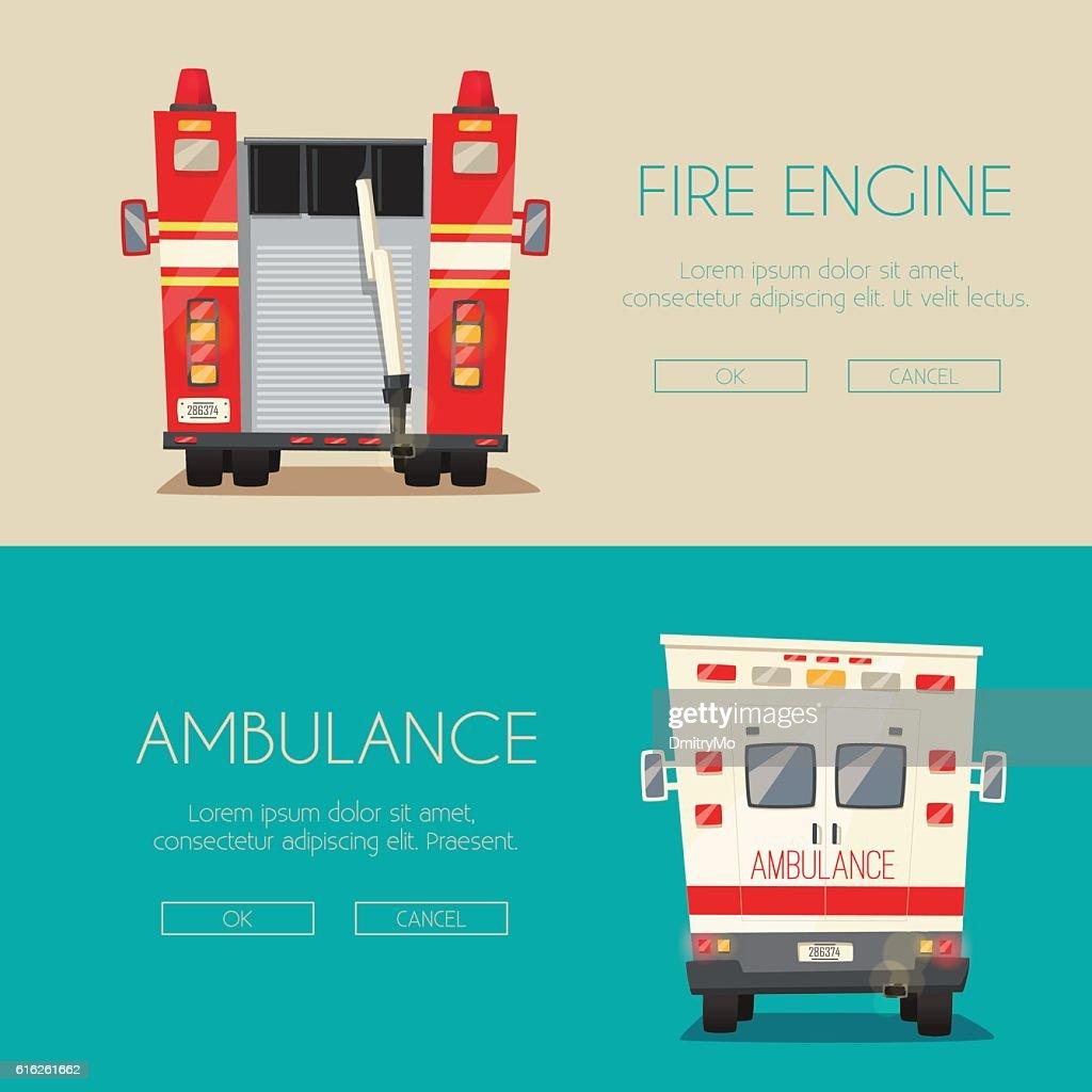 Ambulance car and Fire truck. Vector cartoon illustration : Arte vetorial