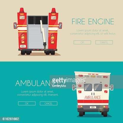Ambulance car and Fire truck. Vector cartoon illustration : Arte vectorial