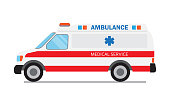 Ambulance car, medical service. Hospital transport. Emergency medical service vehicle, vector Illustration on a white background