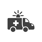 Ambulance Car Glyph Vector Icon. Isolated on the White Background. Editable EPS file. Vector illustration.