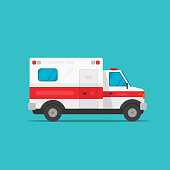 Ambulance emergency automobile car vector illustration, flat cartoon medical vehicle auto side view isolated