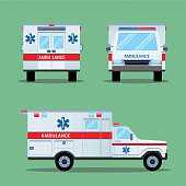 Ambulance emergency icon. Back, front and side view. Ambulance car transport. Ambulance emergency medical evacuation auto. High quality service ambulance car in flat style. Vector illustration
