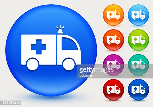 Ambulance Icon on Shiny Color Circle Buttons : Vektorgrafik