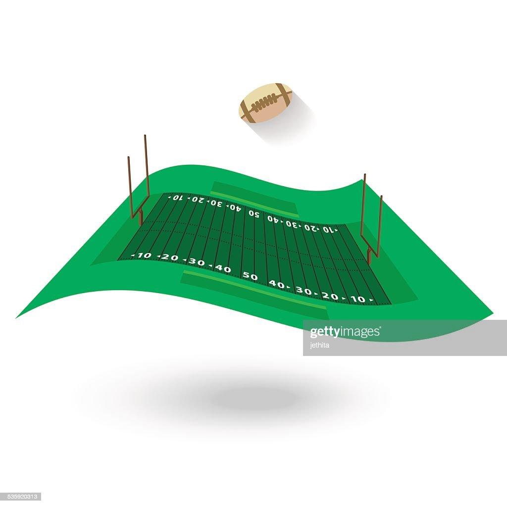 amerian football field flying flag design on white background : Vector Art