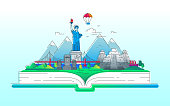 America - modern vector line travel illustration. Discover the New World continent. Have a trip, enjoy your vacation. Be on a journey. Landmarks on a book - stature of liberty, brooklyn bridge, mayan