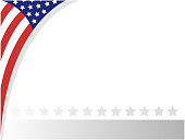 Decorative American abstract flag border corner frame with empty space for your text.